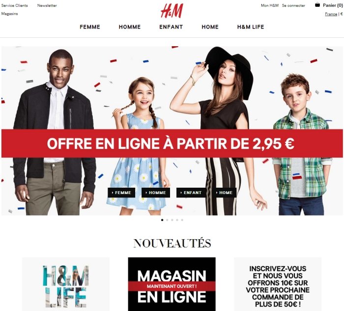 h m launches its online store in france. Black Bedroom Furniture Sets. Home Design Ideas