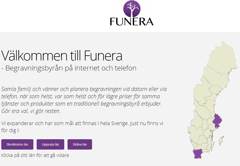 Website of Swedish ecommerce company Funera