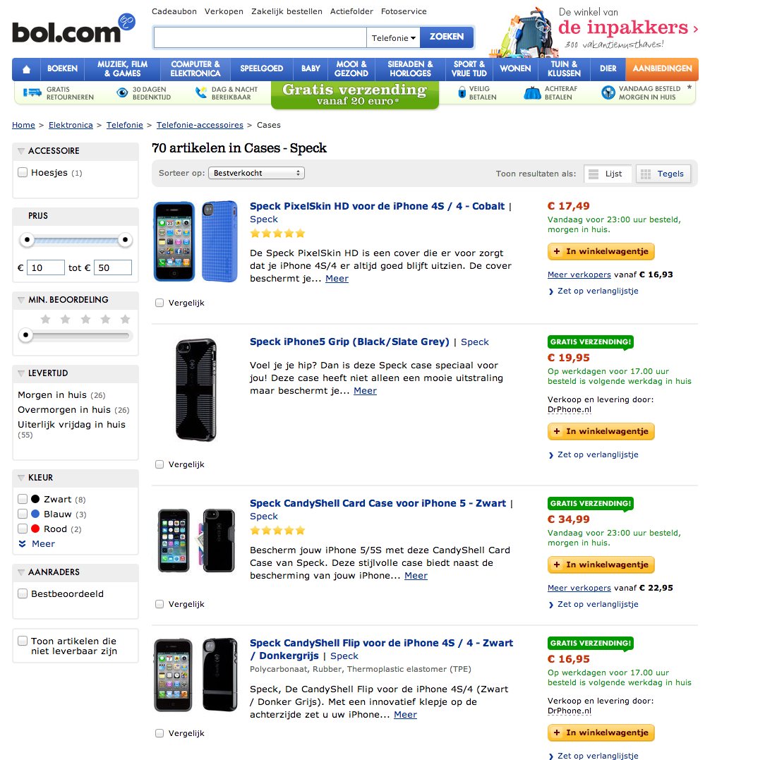The old product page of Bol.com