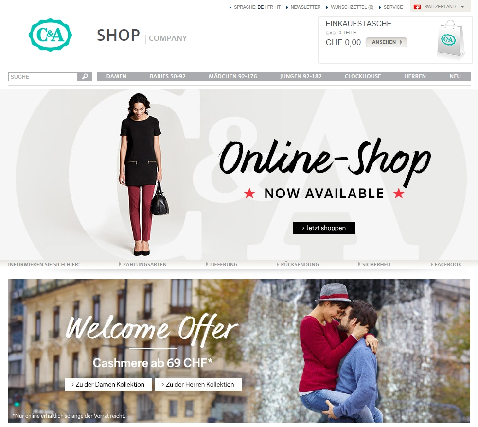 Online store C&A in Switzerland
