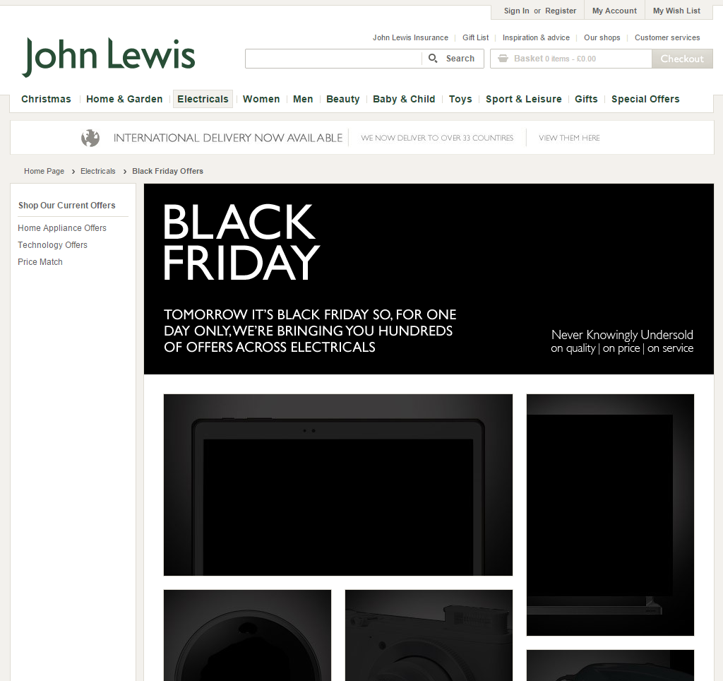 A special Black Friday section on the ecomerce site of John Lewis