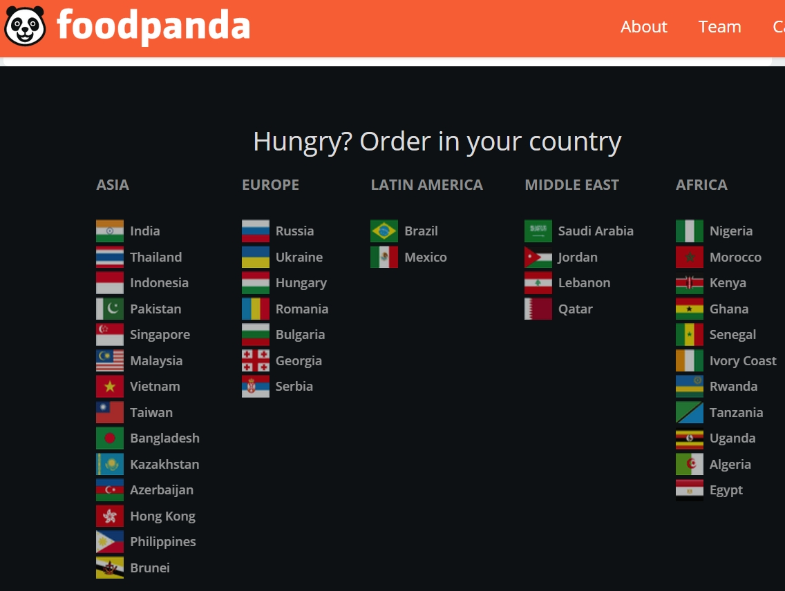 Time to update your country list, Foodpanda!