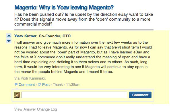 Quote from Yoav Kutner about Magento