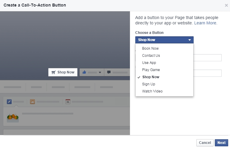Facebook Call-to-action button