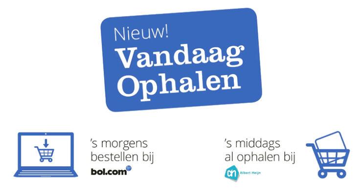 "Bol.com offers same day delivery service ""Vandaag Ophalen"" via Albert Heijn stores."