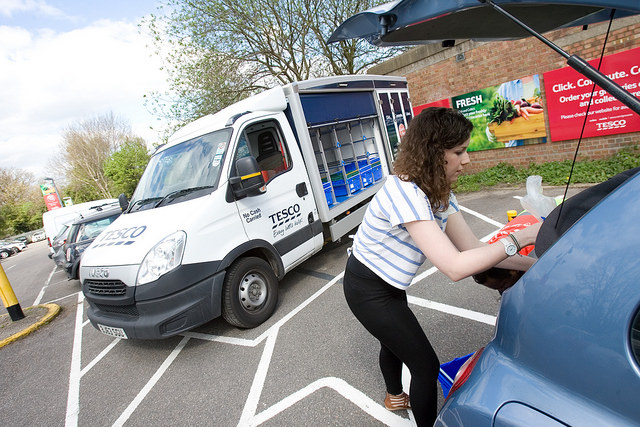 Tesco click and collect van at Cockfosters Station
