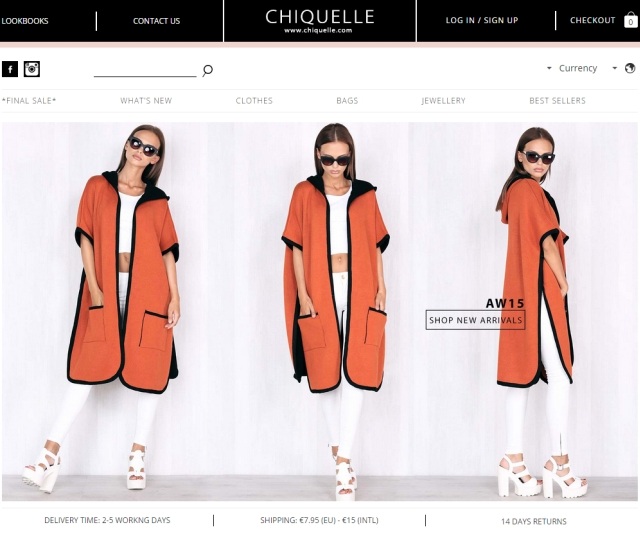 The homepage of Chiquelle.com