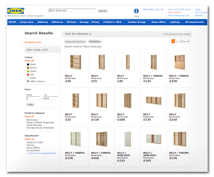 Ecommerce site of Ikea