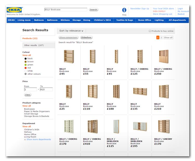 Ecommerce site of Ikea