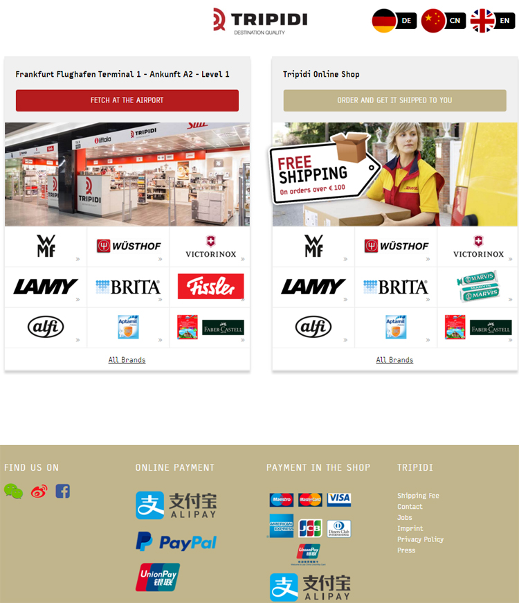 Alipay is offered as one of the payment methods at Tripidi.