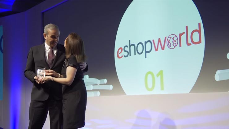 eShopWorld's CEO Tommy Kelly with the award