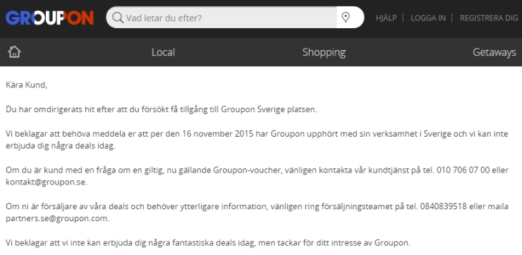 A message for its customers on the Swedish Groupon website.