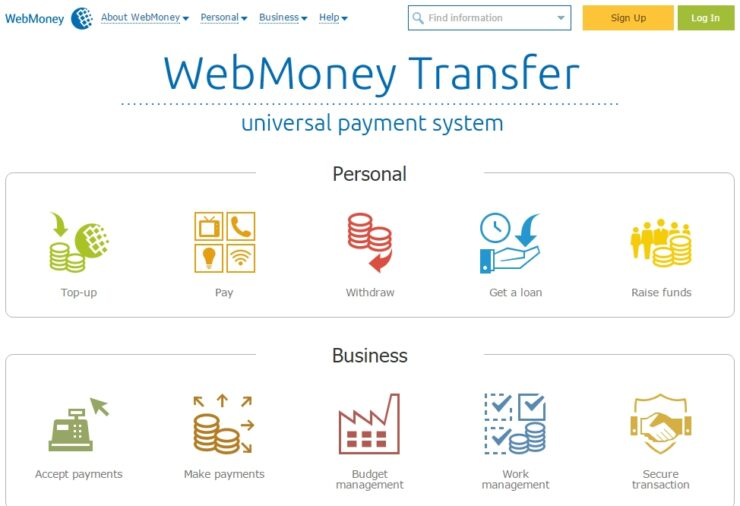Homepage of WebMoney Transfer