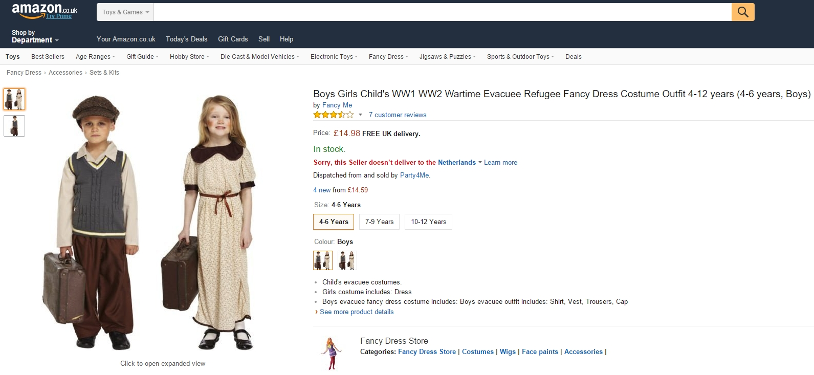 Amazon.co.uk sells refugee costumes