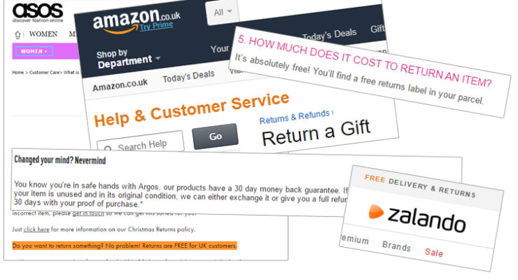 Free return at Asos, Zalando, Amazon, Boohoo and more