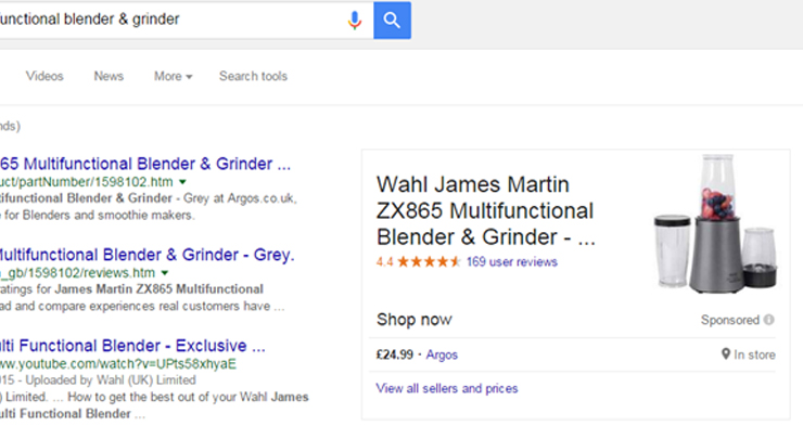 Argos shows real-time availability of products in Google