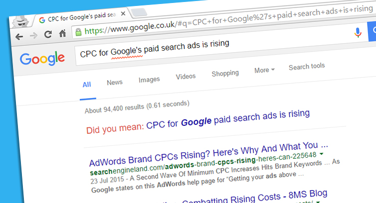 CPC for Google's paid search ads is rising