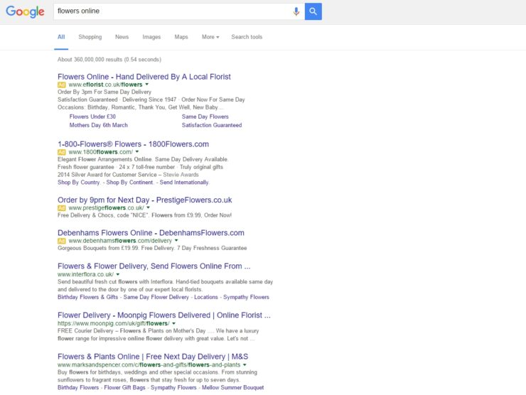 Google ads on its search engine results page (SERP)