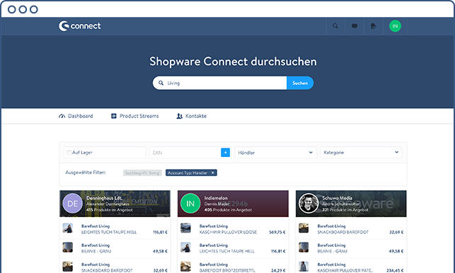 Shopware Connect - find products