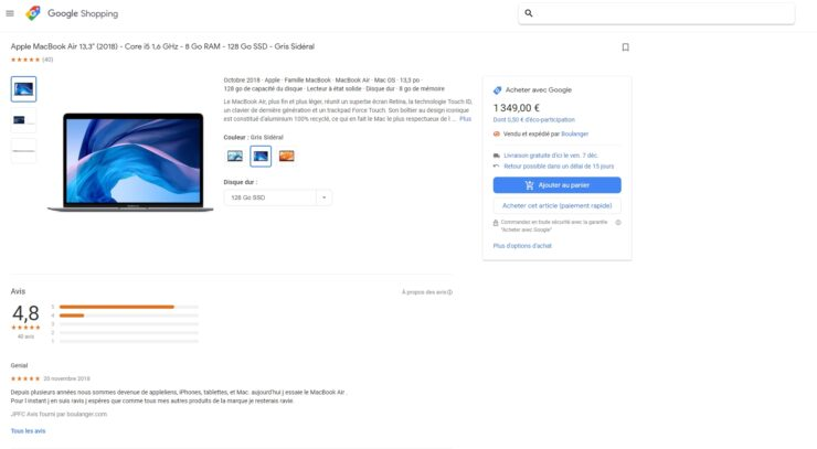 "A product page on Google Shopping, with the ""Buy with Google"" tag."
