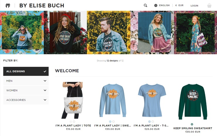 Influencer Elise Buch is one of the Moteefe users with an own online shop.