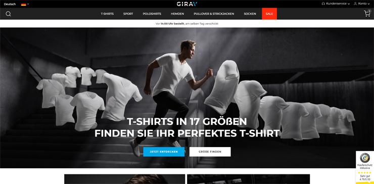 The German online store of Dutch startup Girav.