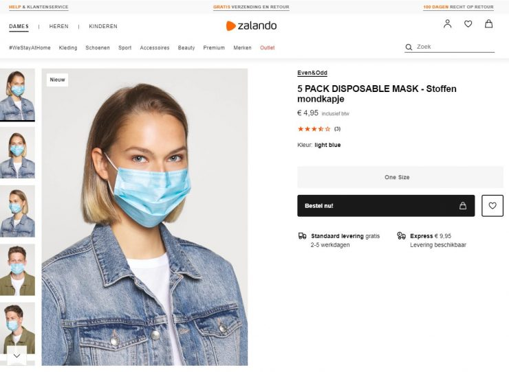 Zalando masks online