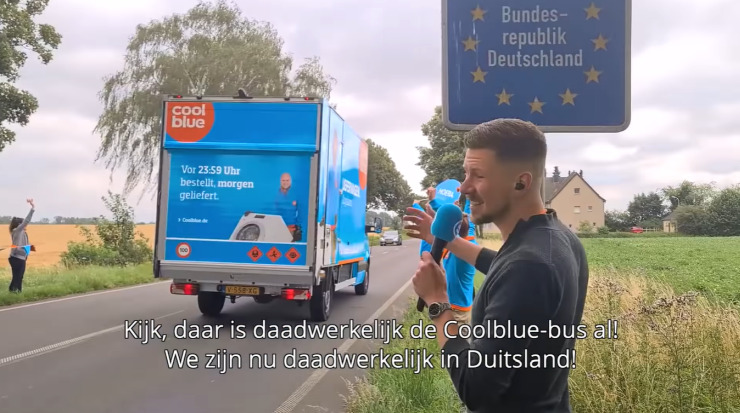 Coolblue in Germany: the typical blue Coolblue van crossed the German border.
