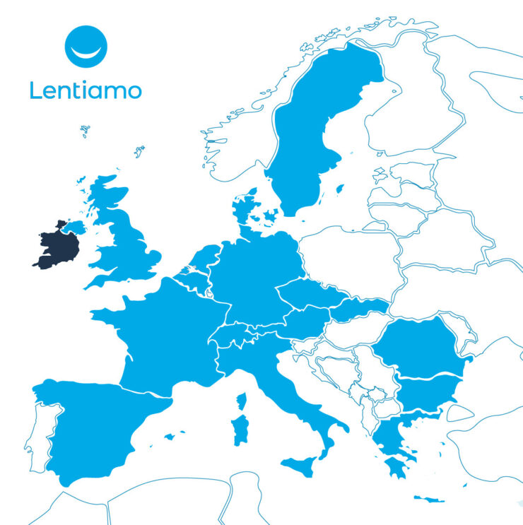 The European markets where Lentiamo is now actice, including Ireland (dark blue).