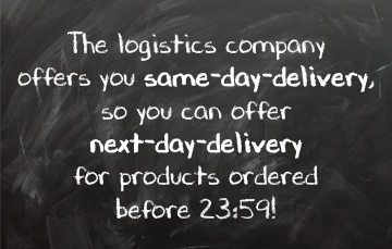 If you send a parcel, you can also choose for same-day-delivery or next-day-delivery