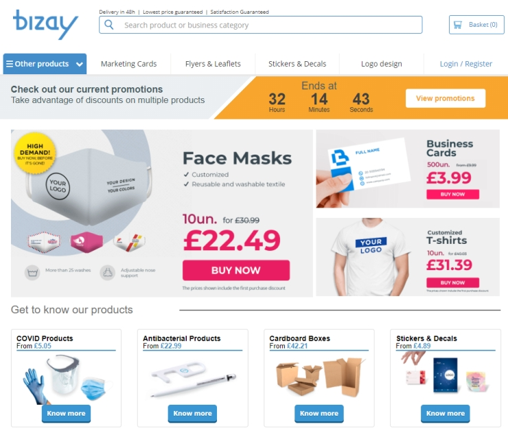 The Bizay marketplace with customizable products.