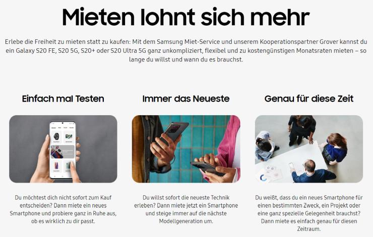 Samsung rental in Germany.