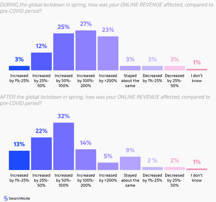 Online revenue after and during the global lockdown - Searchnode 2021