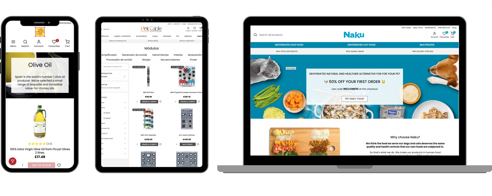 Pakk's ecommerce software running on different devices.