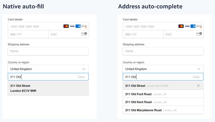 Native auto-fill and address auto-complete